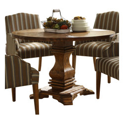 Homelegance - Homelegance Euro Casual Round Pedestal Dining Table in Rustic Weathered - With inspiration drawn from traditional French decorative accents the effortlessly elegant Euro Casual collection adds warmth and charm to your dining room. A classic urn pedestal base acts as the sole support for the routed round table top. The rustic weathered finish on the birch veneers hints of time gone by and the complimenting fabric on the wood-framed accenting chairs lends a distinct flair to the collection. Also available in rustic oak finish on Mindy veneers.