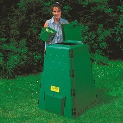 AeroQuick 110 Gallon Recycled Plastic Compost Bin - Additional features Conical form for better decomp and rapid volume reduction Features a revolutionary new airflow system 110 gallon capacity High-quality recycled plastic is UV-resistant Extra large hinged lid protects against wind Features big hatches on 2 sides for easy access 1-yr. warranty against manufacturer defects Due to features you won't find on any other composter you'll be glad you bought the AeroQuick 110 Gallon Recycled Plastic Compost Bin. This compost bin features special aeration technology with integrated air ducts that allow for quicker and odorless composting. Microbubbles in the UV-resistant recycling panels provide additional thermal effect. There are large hatches for easy access to your compost.