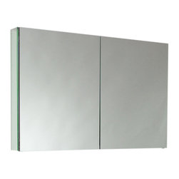 "Fresca - Fresca 40"" Wide Bathroom Medicine Cabinet w/ Mirrors - Dimensions:  39.5""W x 26""H x 5""D. 2 Glass Shelves. 2 Mirrored Doors. Recessed Mounting Option. . . . . This 40""medicine cabinet features mirrors everywhere.  The edges have mirrors and also on the interior of the medicine cabinet.  The inside features two tempered glass shelves.  Can be wall mounted or recessed into the wall."