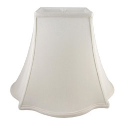 American Heritage Shades - Lampshade in Cream w Fitter (10 in. Diam x 8.5 in. H) - Choose Size: 10 in. Diam x 8.5 in. HLampshade Types. Shantung faux silk with off-white fabric liner. Hand made. Matching top, bottom and vertical trim. Square top and outscallop square bottom. Enhances lamp and room decor. Made from polyester and fabric. Fitter in brass color. Made in USA. No assembly required