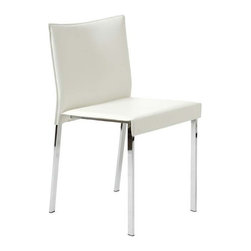 Eurostyle - Eurostyle Riley Leather Side Chair w/ Chromed Steel Base in White [Set of 2] - Leather Side Chair w/ Chromed Steel Base in White belongs to Riley Collection by Eurostyle The Riley Side Chair is simply chic and oh so stylish! The perfect addition to any dining table, the Riley Side Chair pairs comfortable seating with a great modern look. This modern chair features a seat and back covered completely in leather available in your choice of color, each of which is perfectly complemented by chromed steel legs. The Riley Chair offers exceptional style and quality, and is suitable for commercial use. Side Chair (2)