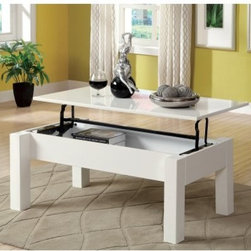 Furniture of America Elize Lift-Top Storage Coffee Table - White - More than just watching TV, life happens in your living room, which makes the Furniture of America Elize Lift-Top Storage Coffee Table - White ideal. This wood coffee table features a hinged top that lifts and slides forward so it doubles as a casual eating spot or desk for your laptop. There's even handy storage below the lid! Its squared legs and high-gloss white lacquer coating add contemporary style.About Enitial LabBased in California, Enitial Lab has established itself as a premier provider of fine home furnishings. The people behind Enitial Lab brand are moved by passion, hard work, and persistence. They're always striving to design the latest piece, keeping in mind their mission to make quality furniture available to urban-minded shoppers, without compromising the packaging integrity. Enitial Lab offers unique, coordinated, and affordably designed furniture; they're a one-step resource in the furniture industry for both high-quality pieces as well as secure and professional packaging.