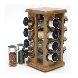 OCI - LIPPER 816 BAMBOO SPICE RACK 16 BOTTLE FILLED IN COLOR BOX - LIPPER 816 BAMBOO SPICE RACK 16 BOTTLE FILLED IN COLOR BOX