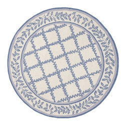 Safavieh - Safavieh Hand-hooked Trellis Ivory/ Light Blue Wool Rug (5'6 Round) - This ivory and light blue round wool rug is hand-hooked and features a trellis pattern. It is made of an all-natural virgin wool and soft to the touch. It has a cotton canvas backing and a hand-surged binding making it a durable addition to your space.