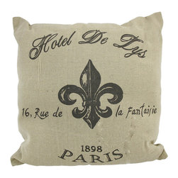 Paris `Hotel De Lys` French Fleur de Lis Tan Throw Pillow 16 In. - Add a French accent to your worldly home decor with this decorative throw pillow. It features a brown fleur de lis design in the center advertising, Hotel De Lis in Paris. The pillow measures 16 inches tall, 16 inches wide, has a removable burlap cover and 100% cotton padding inside. This pillow looks great on beds, chairs, and couches anywhere in your home, and the neutral colors are sure to complement most any decor.