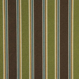 Green Brown Blue And Gold Striped Indoor Outdoor Upholstery Fabric By The Yard - This upholstery grade fabric can be used for all indoor and outdoor applications. It is Scotchgarded, and is mildew, fade, water, and bacteria resistant. This fabric is made in America!