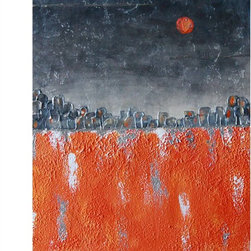 Orange Moon - Original Mixed Media Painting - Beautiful Acrylic mixed media is highly textured on stretched canvas.