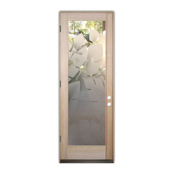Sans Soucie Art Glass (door frame material T.M. Cobb) - Glass Front Entry Door Sans Soucie Art Glass Banana Leaves 2D - Sans Soucie Art Glass Front Door with Sandblast Etched Glass Design. Get the privacy you need without blocking light, thru beautiful works of etched glass art by Sans Soucie!This glass is semi-private. Door material will be unfinished, ready for paint or stain.Bronze Sill, Sweep.Satin Nickel Hinges. Available in other finishes, sizes, swing directions and door materials.Dual Pane Tempered Safety Glass.Cleaning is the same as regular clear glass. Use glass cleaner and a soft cloth.