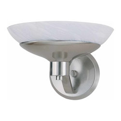 Triarch - Triarch Halogen Vi Wall Sconce X-SB-16492 - Halogen VI - Beautiful Hand-Blown White Art glass, set in to cool Brushed Steel, is the key to this stunning look.