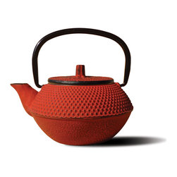 "Tetsubin Teapots - Unity® Cast Iron ""Tokyo"" Teapot – Red Finish.  An elegant, distinctly shaped  Cast Iron Tetsubin teapot named after the beautiful and ancient city of Tokyo, Japan.  Inspired by highly prized antique Japanese Cast Iron teapots still in use today. Features a Black Porcelain Enamel Interior Coating that helps prevent rust. Includes a Stainless Steel tea brewing basket for ease of preparation for brewing and serving tea. Not intended for stovetop use. 11 Oz. capacity. Hand Wash."