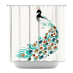 DiaNoche Designs - Shower Curtain Artistic - Peacock II - DiaNoche Designs works with artists from around the world to bring unique, artistic products to decorate all aspects of your home.  Our designer Shower Curtains will be the talk of every guest to visit your bathroom!  Our Shower Curtains have Sewn reinforced holes for curtain rings, Shower Curtain Rings Not Included.  Dye Sublimation printing adheres the ink to the material for long life and durability. Machine Wash upon arrival for maximum softness. Made in USA.  Shower Curtain Rings Not Included.