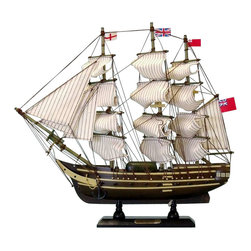 "Handcrafted Model Ships - HMS Surprise 14"" - Master and Commander Wooden Model Boat - Sold fully assembled ready for immediate display - Not a model ship kit. Fine craftsmanship and attention to detail highlight this scale tall model ship replica of HMS Surprise, the ship made famous in Patrick O'Brian's Aubrey-Maturin series and the film Master and Commander: far side of the World with Russell Crowe. Whether seated upon a shelf, desk or table, these HMS Surprise tall ship models proudly displays their exquisitely-crafted features and indomitable historic, patriotic and adventurous spirit."