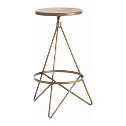 Arteriors - Wyndham Stool, Bar Stool - Triangle legs corralled by a ring — made of iron with a vintage brass finish — support a round wooden swivel seat. The look is both old school and up to the minute, making this the ideal bar stool for your contemporary setting.