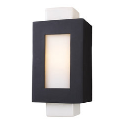 """Elk - Sundborn Collection Black 19"""" High Outdoor Wall Light - The Sundborn Collection in inspired by the minimalist angular design of Sweden. This cast aluminum wall sconce is crafted with simple form and comes in a matte black finish. The frame cleverly surrounds an opal white glass column providing sleek contrast between colors and materials. From Elk Lighting. Cast aluminum construction. Matte black finish. Opal white glass. Takes one 100 watt bulb (not included). 9"""" wide. 19"""" high. Extends 7"""" from the wall.  Cast aluminum construction.   Matte black finish.   Opal white glass.   Takes one 100 watt bulb (not included).   9"""" wide.   19"""" high.   Extends 7"""" from the wall."""