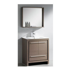 "Fresca - Allier Single Sink Bathroom Vanity w Mirror (Bevera Chrome) - Choose Included Faucet: Bevera ChromeP-trap, Faucet, Pop-Up Drain and Installation Hardware Included. Single Hole Faucet Mount (Faucet Shown In Picture May No Longer Be Available So Please Check Compatible Faucet List). With overflow. Sink Color: White. Finish: Gray Oak. Sink Dimensions: 17.75 in. x11.25 in. x5.25 in. . Mirror: 29.5 in. W x 25.5 in. H x 6 in. D. Materials: Plywood w/ Veneer, Ceramic Countertop/Sink with Overflow. Vanity: 29.5 in. W x 18.5 in. D x 33.5 in. HThe Fresca 30"" Allier is a sleek, modern free standing vanity with plenty of storage space. This model is accented nicely with a matching mirror with small shelf. Optional side cabinets are available."