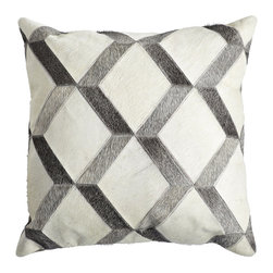 COWHIDE PILLOW COVER – 3D DIAMOND - NEW - Out with the old and in with the moo! Blending organic material with a graphic pattern, this pillow will add a rustic, yet modern, feel to your sofa or chair. Smooth and soft—this throw is a stylish and comfortable accent you won't want to hide. Tailored from real cowhide that is hand-finished and assembled, so each will vary naturally in tone.