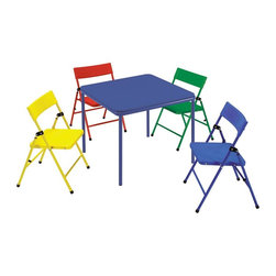 Cosco Office - 5-Pc Kids Folding Chair and Table Set - Includes table and four chairs. Multi-functional. Ideal for art and craft project, tea party and birthday. Easy to store. Easy to clean vinyl top. Great for snacks, craft, game and more. Low maintenance. Safe pinch-free hinge and screw in leg. Strong and durable steel frame with powder coated finish. Warranty: One year. Red, yellow and blue color. Minimal assembly required. Chair: 14 in. W x 15.75 in. D x 22.62 in. H. Table: 24 in. W x 24 in. D x 21.5 in. H. Weight: 26.5 lbs.