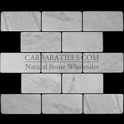Carrara Marble Italian White Bianco Carrera 3x6 Marble Subway Tile Tumbled - Bianco Carrara 3x6 Marble Subway Tile is also known as White Carrera 3x6 Marble Subway Tile. Premium grade 3x6 marble subway tile is perfect for both residential and commercial projects (kitchen renovation, shower remodeling, renovating bathroom, backsplash, cladding walls). 3x6 Marble Subway Tiles are mainly preferred as backsplash tiles for their clean, aesthetic qualities. A large selection of coordinating products are available, including Carrara basketweave mosaics, Carrara herringbone mosaics, Carrara hexagon mosaics, 3x6 marble subway tiles, 12x12 Carrara marble tiles, 4x4 Carrara marble tiles, Carrara borders, Carrara moldings and Carrara baseboards, each available in honed, polished and tumbled finishes.