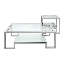 Duplicity Side and Coffee Table - Z Gallerie's exclusive design Duplicity collection is designed with form and function in mind. Constructed of stainless steel and glass, both coffee and side table have a floating bottom shelf for clean and simple storage.