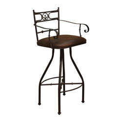 """Artisan Home Furniture - Valencia Swivel Bar Stool with Arms - The Valencia collection is a true display of old world elegance and workmanship. Every piece of copper is hand hammered and fired following centuries old artisan techniques. In addition, all pieces in this collection feature beautifully hand forged iron bases and distressed wood. These bar stools have been designed with form and function in mind. Features: -Valencia Collection. -Distressed old world microfiber cover. -Hand crafted and hand forged metal bases constructed in the old world tradition for strength and durability. -One year warranty. Dimensions: -42"""" H x 22"""" W x 23.75"""" D, 50.9 lbs."""