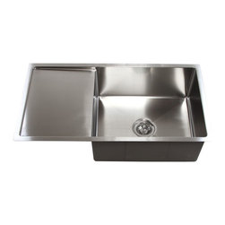 "Ariel - 36 Inch Stainless Steel Undermount Single Bowl Kitchen Sink with Drain Board - With a side drain board that can be used on either the left or right, this single bowl sink helps water drain away from dishes. Exterior Dimensions 36"" x 19"" x 10"". Interior Dimensions 21"" x 17"" x 10"". Drain Board 13"""