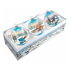 "Set of Three Glass Winter Animals Christmas Ornaments w/ Gift Box - Measures 4""H x 13.5""L x 5""W and weighs 1.5 lbs. Invite the beauty of the season into your home with the G. DeBrekht collection of hand painted glass Christmas ornaments, inspired by an old Russian Fedoskino and Palekh Artistic technique. Decorating your Christmas tree is a special time for families, with G. DeBrekht ornaments you can choose your style and create a true gallery of art for your family to enjoy. G. DeBrekht fine art traditional, vintage style glass holiday ornaments are artistically hand painted with a combination of transparent and opaque paint for a realistic, deep iridescent lighting effect on each G. DeBrekht ornament. Each ornament is adorned with a miniature detailed Christmas scene, accented with touches of gold or silver, finished with a lovely satin ribbon and then placed in a luxurious satin lined box. In the spirit of giving, G. DeBrekht ornaments and decor also make beautiful Christmas and holiday gifts to share with loved ones. Every G. DeBrekht ornament and decoration is an original work of art sure to be cherished as a family tradition for generations to come. Some ornaments may have slight variations of the decoration on the ornament due to the hand painted nature of the product."