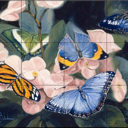 The Tile Mural Store (USA) - Tile Mural - Colorful Butterflies - Lb - Kitchen Backsplash Ideas - This beautiful artwork by Lucie Bilodeau has been digitally reproduced for tiles and depicts butterflies and flowers  Butterfly images on tiles are wonderful to add to your kitchen backsplash wall tile project. Bright and beautiful decorative tiles with pictures of butterflies make a great addition to your kitchen backsplash wall tile project. Bring the outdoors in with a butterfly tile mural. You can use a tile mural of butterflies in the bathroom too for your shower tile project. Consider a butterfly tile mural for any wall tile project.