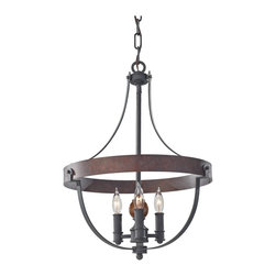 Murray Feiss - 3 Alston 16 Diameter 3 Light Single Tier Chandelier - The Alston lighting collection is inspired by a medieval Country French cottage. In step with the weathered barn wood trend, the Alston collection is finished in a two-tone, rustic Charcoal Brick finish and features dramatic arms in an Antique Forged iron with a spearhead detail at each bold rivet.
