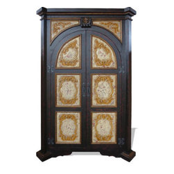 Koenig Collection - Eclectic Bookcase Medallions, Black Torched With Cream And Scrolls - Eclectic Bookcase Medallions, Black Torched with Cream and Scrolls