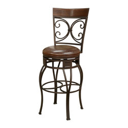 American Heritage - Treviso Counter Stool/Bar Stool (30 in. Bar S - Choose Seat Height: 30 in. Bar StoolFinished In Pepper With Bourbon Leather. Uniweld Construction. Full-Bearing Swivel. 3 in. Cushion. Adjustable Leg Levelers. Counter Stool Dimensions: 20 in. W x 19.25 in. D x 40.25 in. H. Counter Seat Height: 24 inches. Bar Stool Dimensions: 20 in. W x 19.25 in. D x 49.25 in. H. Bar Seat Height: 30 inches