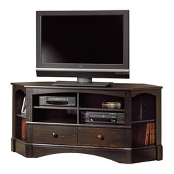 Sauder - Sauder Harbor View Corner TV Stand in Antiqued Black - Sauder - TV Stands - 402902 -