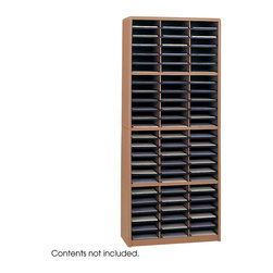 "Safco - Value Sorter Literature Organizer, 72 Compartment - Oak - Value Organization! To organize effectively you need the right tools for the right space. The Value Sorter will improve neatness and is a great addition to any mail room, office, school or store. Use compartments as a mailbox, material holder or stationary sorter. The steel shell comes complete with support shelves and a solid fiberboard back to ensure stability and durability. Compartments are formed with heavy-duty corrugated fiberboard. Unit has over-sized compartments that comfortably hold up to 550 sheets of letter-size paper. Compartments are wide enough to easily accommodate letter-size file folders. Wide shelf fronts have built-in label holders (labels included).; Features: Material: Steel (shell, support shelves), Corrugated Fiberboard (shelves); Color: Oak; Finished Product Weight: 59 lbs.; Assembly Required: Yes; Tools Required: Yes; Limited Lifetime Warranty; Dimensions: 32 1/4""W x 13 1/2""D x 75""H"