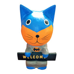 Beach House Accents - Cute Super Hero Wooden Welcome (Batman) Cat - 1. Batman Super hero Welcome cat looks great in the kids room Cats & Friends made in wood from Bali.