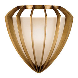 Fine Art Lamps - Staccato Gold Sconce, 786450-2ST - This V-shaped coupe sconce with its crisp vertical metal flanges is instantly eye-catching from across the room. The frosted seedy glass gives a warm, softly diffused atmospheric light.
