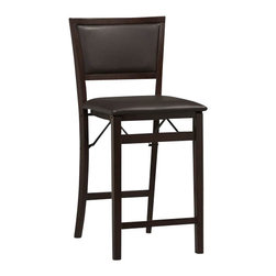 "Linon - Linon Triena Pad Back Folding Counter Stool 24"" in Espresso - Linon - Bar Stools - 01831ESP01ASU - Stylish seating with the convenience of a folding counter stool. This folding stool adds an extra dash of elegance for dining or entertaining. The wood frames feature a classic Padded Back and a wipe clean vinyl padded seat with the appearance of leather and a rich Espresso finish. Front and rear supports provide extra stability. The space saving stool fold for easy set up and storage. No assembly required."