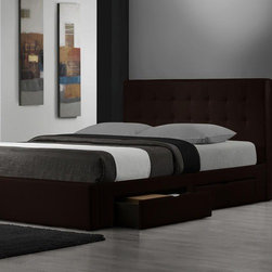 DG Casa - Belmont Storage Platform Bed - The Belmont bed a perfect example of high fashion and function. The fully upholstered, tufted leather design adds pure sophistication to any bedroom, while the four drawers add ample storage. With the full slat support system and low profile design, no box spring is required. Features: -No box spring required.-Low profile design.-Includes four drawers add ample storage.-Includes slat support system.-Belmont collection.-Distressed: No.Dimensions: -Overall Product Weight: 190 lbs.