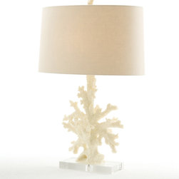 Boca Coral/Acrylic Lamp - A resin sculpture captures the resplendence of nature in an organic version of a starburst design. Channeling the look of coral, the lamp with a creamy yellow finish adds a refined, elegant nautical accent to any room of the home.