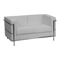 Flash Furniture - Flash Furniture Accent Chair X-GG-HW-SL-2-018-LAGER-BZ - This attractive white leather reception love seat will complete your upscale reception area. The design of this love seat allows it to adapt in a multitude of environments with its smooth upholstery and visible accent stainless steel frame. [ZB-REGAL-810-2-LS-WH-GG]