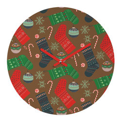 DENY Designs - DENY Designs Pimlada Phuapradit Christmas Ornaments Round Clock - Talk about a small home d�cor accessory that makes a HUGE impact! Our affordable 12� Round Clock comes complete with the artwork of your choice and coordinating clock hands. Hang it on it�s own or group it in a collection. Time�s a tickin�!