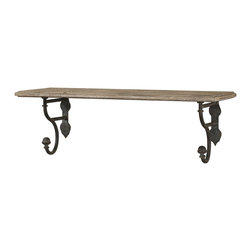 Rustic Aged Wood Shelf with Metal Brackets - *Aged Wood Shelf With Metal Details Finished In A Rustic Olive Bronze.