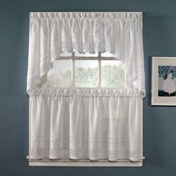 CHF Industries - CHF Industries Crochet Tiered Kitchen Curtain - One Pair - 1Z402101WT - Shop for Curtains and Drapes from Hayneedle.com! About CHF IndustriesCHF Industries based in New York is known for its home textile products and is the largest private-label supplier of retail-specific bedding products. CHF offers a diverse range of window products like panels valances shades kitchen tiers and even window hardware. CHF innovates with fashionable solutions such as energy-efficient interlined window panels taking steps to introduce organic products to protect the environment.