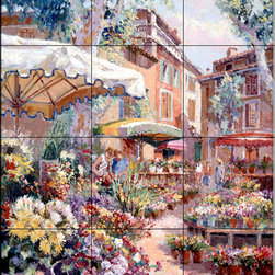 The Tile Mural Store (USA) - Tile Mural - French Flower Market - Kitchen Backsplash Ideas - This beautiful artwork by Sam Park has been digitally reproduced for tiles and depicts a colorful french flower market.  This garden tile mural would be perfect as part of your kitchen backsplash tile project or your tub and shower surround bathroom tile project. Garden images on tiles add a unique element to your tiling project and are a great kitchen backsplash idea. Use a garden scene tile mural for a wall tile project in any room in your home where you want to add interesting wall tile.