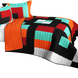 Blancho Bedding - 3 Piece Vermicelli Quilted Patchwork Quilt Set, Full/Queen, Colorful Drinks - The Colorful Drinks 100% TC Fabric Quilt Set,  Full/Queen Size,  includes a quilt and two quilted shams. This pretty quilt set is handmade and some quilting may be slightly curved. The pretty handmade quilt set make a stunning and warm gift for you and a loved one! For convenience, all bedding components are machine washable on cold in the gentle cycle and can be dried on low heat and will last for years. Intricate vermicelli quilting provides a rich surface texture. This vermicelli-quilted quilt set will refresh your bedroom decor instantly, create a cozy and inviting atmosphere and is sure to transform the look of your bedroom or guest room.,  Dimensions: Full/Queen quilt: 90.5 inches x 90.5 inches; Standard sham: 24 inches x 33.8 inches,