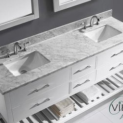 Caroline Contemporary Bathroom Vanities - The Caroline Avenue series http://www.listvanities.com/virtu-usa-vanities.html is designed with a bold clean style and built with strong, top notch materials including designer brushed nickel hardware. It offers an abundance of storage space and state of the art technology with its soft closing doors and drawers. Featuring a zero-emissions solid oak wood with a classic espresso or white finish that will last for years to come. With this vanity's one inch thick Italian Carrara white marble countertop, it will be more durable and resistant to mishaps. Designed with class in mind, the Caroline Estate offers a beautiful and elegant structure in any bathroom design. This vanity is finished in classic finishes of espresso or white and includes color-matching framed mirrors. This vanity offers a revealing hospitality towel rack for additional storage. The sleek look of the Italian Carrara white marble countertop completes the set for this high-class, designed vanity. The Caroline Estate works well in any master or guest bathroom.
