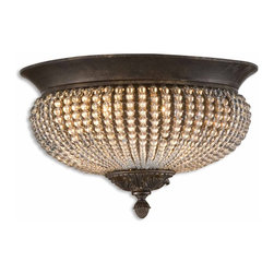 Uttermost - Uttermost Cristal De Lisbon Flush Mount Ceiling Fixture in Golden Bronze - Shown in picture: Rows Of Glass Beads And Golden Bronze Metal Details. Rows of clear crystal beads fill the channels of the narrow ribs - and bouquets of the same cut crystals spill over the edges - their rich unique color catching the light in both the prisms and also in the beading.