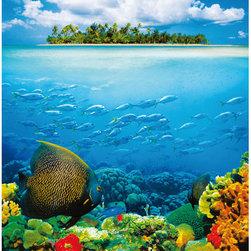 Treasure Island Wall Mural - Tropical fish add a burst of vivid color to this island scene wall mural.