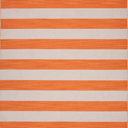 Jaipur Rugs - Flat-Weave Stripe Pattern Wool Orange/Ivory Area Rug - Bold color is the name of the game with Pura Vida. This beautiful collection of durable, reversible flat-woven dhurries combines the classic simplicity of linear patterns with a decidedly modern palette for a look that's at once casual and sophisticated. Origin: India