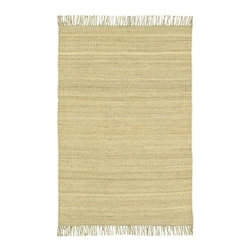 """Surya - Jute Bleached Rug in Natural - Hand Woven (2' 3"""" x 4') - Choose size: 2 ft. 3 in. x 4 ft.. Casual and elegant with a comfortable island inspired appeal, this hand woven jute fiber rug will be a relaxed addition to any decor. Featuring fringed edges for added visual interest, the rug is bleached and available in your choice of size and shape option. Hand woven. Made in India. Casual style. 100% Natural Jute and shapes"""