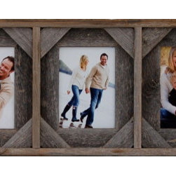 MyBarnwoodFrames - Collage Picture Frame 5x7 With 5 Openings and Cornerblocks - Collage  Picture  Frames  with  five  openings  are  tough  to  find,  but  we  have  a  solution!  This  beautiful  reclaimed  wood  frame  will  showcase  five  different  5x7  photos  side  by  side.  Hang  it  horizontally  for  portrait-oriented  pictures,  or  rotate  the  entire  frame  so  that  your  landscape  photos  will  fit.  This  frame  includes  a  unique  cornerblock  design  that  gives  the  frame  added  texture,  and  is  perfect  in  western  or  more  rustic  settings.  It  is  also  available  without  cornerblocks.          Product  Specifications:                  Accommodates  five  5x7  photos              Includes  glass  and  hanging  hardware              Frame  can  hang  horizontally  or  vertically              Dimensions:  35  wide  by  9.5  high  by  1.75  deep  (slight  size  variations  are  possible  due  to  the  width  of  barnwood  used)              Reclaimed  wood,  eco-friendly              Made  in  USA              This  collage  picture  frame  is  a  perfect  wall  hanging  above  a  bed  or  fireplace.  Add  some  unique  hanging  hardware  from  our  rustic  hardware  section  to  give  the  entire  wall  hanging  a  unique  look  that  will  turn  heads  every  time.  This  unique  frame  within  a  frame  design  also  becomes  a  unique  shadow  box  display  if  you  remove  the  glass  and  install  three-dimensional  items,  such  as  a  child's  baby  shoes,  rattle,  or  small  toys.           Perfect  for  western,  nautical,  or  cabin  decor,  this  frame  also  works  well  in  less  rustic  settings.  Add  five  photos  from  the  family  trip  to  the  beach,  as  we  have  here,  or  make  a  unique  5-generation  display  of  photos  of  your  daughter,  yourself,  your  mother,  grandmother,  and  great-grandmother.  Add  a  different  photo  of  each  of  your  children,  or  a  series  of  the  same  child  as  a  baby,  child,  youth  and  adult.          View  our  entire  collection  of  rustic  and  painted  collage  picture  frames  by  clicking  here.          View  our  entire  collection  of  5  opening  collage  frames  here