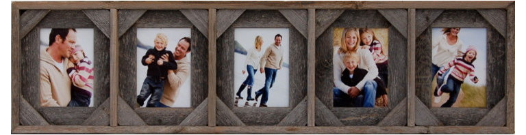 MyBarnwoodFrames - Collage Picture Frame 5x7 With 5 Openings and Cornerblocks - Collage  Picture  Frames  with  five  openings  are  tough  to  find,  but  we  have  a  solution!  This  beautiful  reclaimed  wood  frame  will  showcase  five  different  5x7  photos  side  by  side.  Hang  it  horizontally  for  portrait-oriented  pictures,  or  rotate  the  entire  frame  so  that  your  landscape  photos  will  fit.  This  frame  includes  a  unique  cornerblock  design  that  gives  the  frame  added  texture,  and  is  perfect  in  western  or  more  rustic  settings.  It  is  also  available  without  cornerblocks.          Product  Specifications:                  Accommodates  five  5x7  photos              Includes  glass  and  hanging  hardware              Frame  can  hang  horizontally  or  vertically              Dimensions:  35  wide  by  9.5  high  by  1.75  deep  (slight  size  variations  are  possible  due  to  the  width  of  barnwood  used)              Reclaimed  wood,  eco-friendly              Made  in  USA              This  collage  picture  frame  is  a  perfect  wall  hanging  above  a  bed  or  fireplace.  Add  some  unique  hanging  hardware  from  our  rustic  hardware  section  to  give  the  entire  wall  hanging  a  unique  look  that  will  turn  heads  every  time.  This  unique  frame  within  a  frame  design  also  becomes  a  unique  shadow  box  display  if  you  remove  the  glass  and  install  three-dimensional  items,  such  as  a  child's  baby  shoes,  rattle,  or  small  toys.           Perfect  for  western,  nautical,  or  cabin  decor,  this  frame  also  works  well  in  less  rustic  settings.  Add  five  photos  from  the  family  trip  to  the  beach,  as  we  have  here,  or  make  a  unique  5-generation  display  of  photos  of  your  daughter,  yourself,  your  mother,  grandmother,  and  great-grandmother.  Add  a  different  photo  of  each  of  your  children,  or  a  series  of  the  same  child  as  a  bab